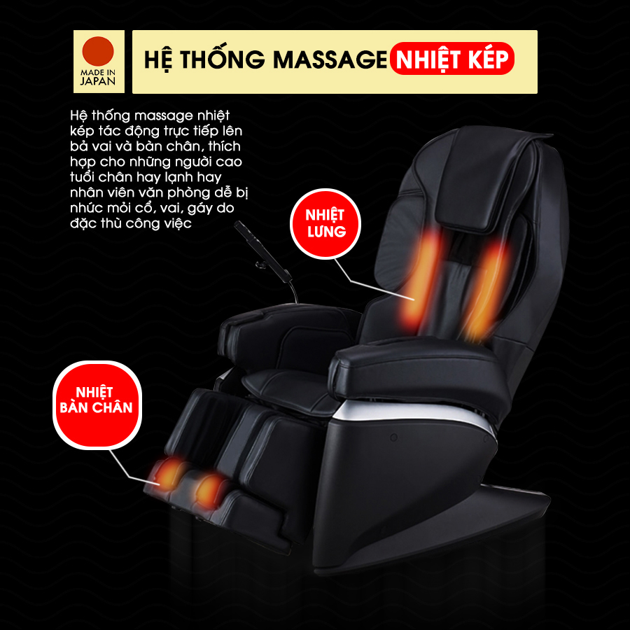 Tính năng massage nhiệt kép của ghế massage FUJIIRYOKI JP-870