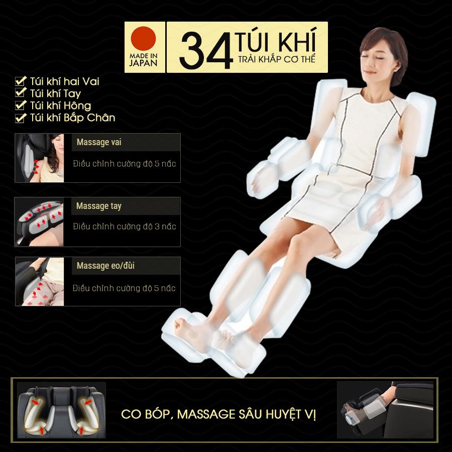 túi khí của ghế massage toàn thân FUJIIRYOKI JP-870
