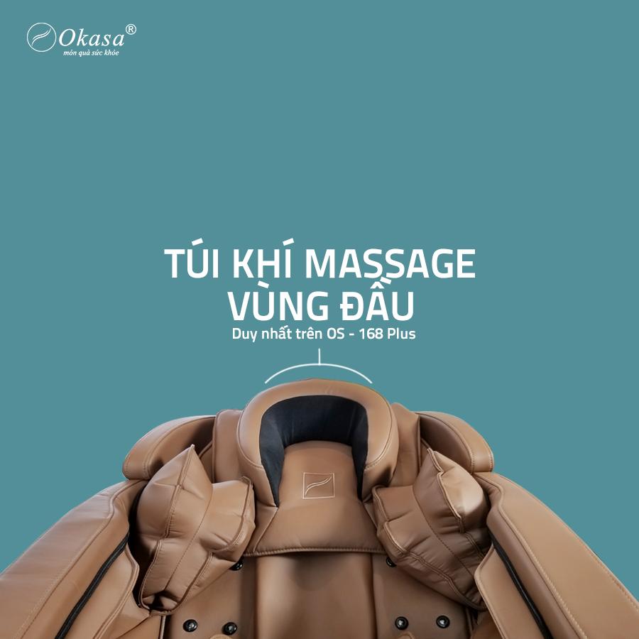túi khí massage vùng đầu của ghế massage Okasa 168 Plus