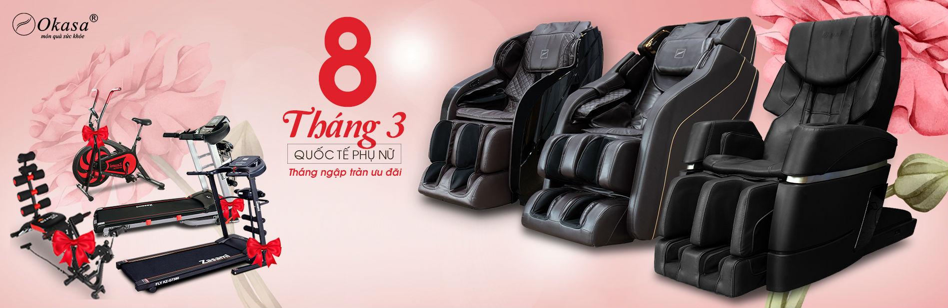 Mua ghế massage tại Okasa ngày 8/3 bạn có cơ hội nhận nhiều quà tặng bất ngờ